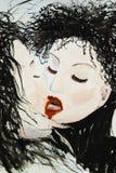 Donna gotica scura, amore & bacio Fotografia Stock