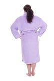 Donna grassa in accappatoio Fotografie Stock
