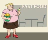 Donna grassa con il cereale di schiocco ed il gelato Illustrazione Vettoriale