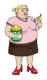 Donna grassa con il cereale di schiocco ed il gelato Royalty Illustrazione gratis