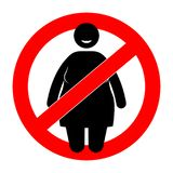 Donna grassa con il segno di restrizione Donna di peso eccessivo Fotografie Stock Libere da Diritti