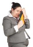 Donna grassa di risata con i rilievi di nota Immagini Stock Libere da Diritti