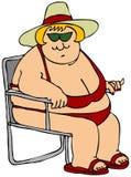 Donna grassa in un bikini rosso Fotografie Stock Libere da Diritti