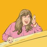 Donna grassottella di medio evo che mostra un modo Donna che dà adwice Illustrazione di vettore del fumetto Scena comica Immagini Stock Libere da Diritti