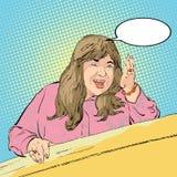 Donna grassottella di medio evo che mostra un modo Donna che dà adwice Illustrazione di vettore del fumetto Scena comica Immagine Stock