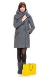 Donna graziosa in cappotto con i sacchetti della spesa Fotografie Stock