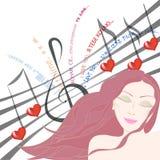 Donna graziosa che ascolta la canzone di amore con gli occhi chiusi Fotografie Stock Libere da Diritti