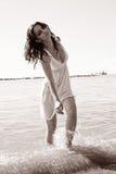 Donna in mare Fotografia Stock Libera da Diritti