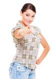 Donna graziosa che indica voi Fotografia Stock Libera da Diritti