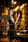 Donna graziosa che posa nella gabbia all'aperto alla notte Immagine Stock Libera da Diritti