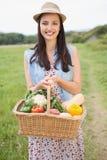 Donna graziosa con il canestro di veg Immagini Stock Libere da Diritti