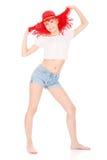 Donna graziosa con il cappello rosso Fotografia Stock Libera da Diritti