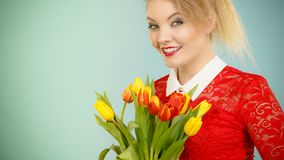 Donna graziosa con il mazzo giallo rosso dei tulipani Immagine Stock