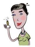 Donna graziosa con l'anello di diamante Fotografia Stock Libera da Diritti