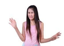 Donna graziosa con l'espressione disgustata Fotografia Stock