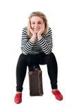 Donna graziosa con la valigia Fotografia Stock Libera da Diritti