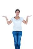 Donna graziosa con le braccia in su Fotografia Stock