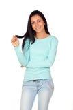 Donna graziosa del brunette con capelli lunghi Fotografie Stock
