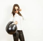 Donna graziosa del motociclista Fotografia Stock Libera da Diritti