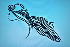 Donna graziosa del salone di bellezza con i capelli lunghi Immagine Stock Libera da Diritti