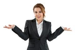 Donna graziosa di affari isolata su bianco Fotografie Stock