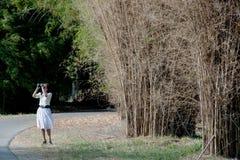 Donna graziosa fuori che birding con il binocolo. immagine stock libera da diritti