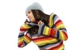 Donna graziosa in maglione fotografia stock libera da diritti