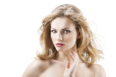 Donna graziosa sensuale con i capelli di volo fotografia stock