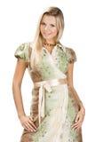 Donna graziosa su bianco Fotografia Stock