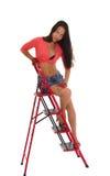 Donna graziosa sulla scaletta, isolata Immagine Stock