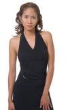 Donna graziosa in vestito nero da dancing Fotografie Stock