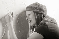 Donna gridante Fotografie Stock