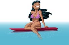 Donna hawaiana sul surf Immagine Stock Libera da Diritti