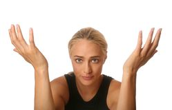 Donna impressionabile con le mani sollevate Fotografie Stock Libere da Diritti