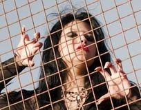 Donna inchiodata lunga in prigione Immagini Stock Libere da Diritti