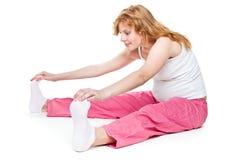Donna incinta che fa forma fisica Fotografia Stock