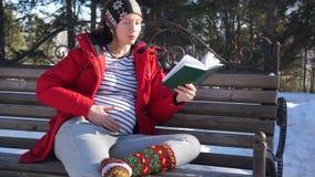 Donna incinta che parla con il suo fare da baby-sitter futuro sul banco video d archivio