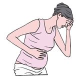 Donna incinta che soffre con la nausea di mattina Illustrazione di vettore royalty illustrazione gratis