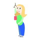 Donna incinta che sta nell'illustrazione di vettore di trasporto pubblico Immagine Stock Libera da Diritti