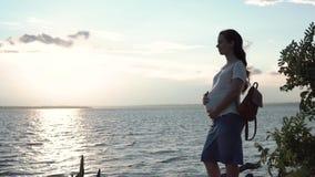 Donna incinta che tocca la sua pancia al tramonto Primo piano di una donna incinta in un vestito a strisce sui precedenti di un f archivi video