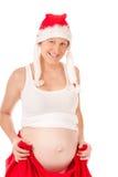 Donna incinta come regalo di natale Fotografie Stock Libere da Diritti