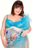 Donna incinta con corpo-arte di vita di mare immagini stock libere da diritti