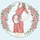 Donna incinta con il bambino sveglio illustrazione vettoriale