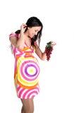 Donna incinta con l'uva Fotografia Stock Libera da Diritti
