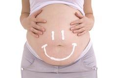 Donna incinta della pancia Cura per il picchiettio incinto del ritaglio della pelle della pancia Fotografie Stock