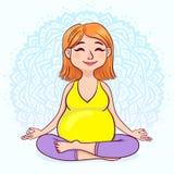 Donna incinta della testarossa nella posizione di loto contro il fondo della mandala Stile sveglio del fumetto Illustrazione di v Immagini Stock Libere da Diritti