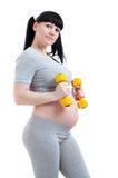 Donna incinta di forma fisica Fotografie Stock Libere da Diritti