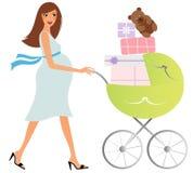 Donna incinta felice con il carrello illustrazione vettoriale