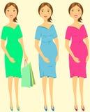 Donna incinta impressionabile stabilita illustrazione di stock