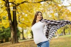 Donna incinta nella sosta di autunno Fotografie Stock Libere da Diritti